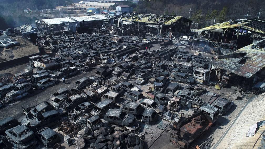 Veículos queimados por incêndio florestal em Sokcho, na Coreia do Sul — Foto: Yonhap/AFP