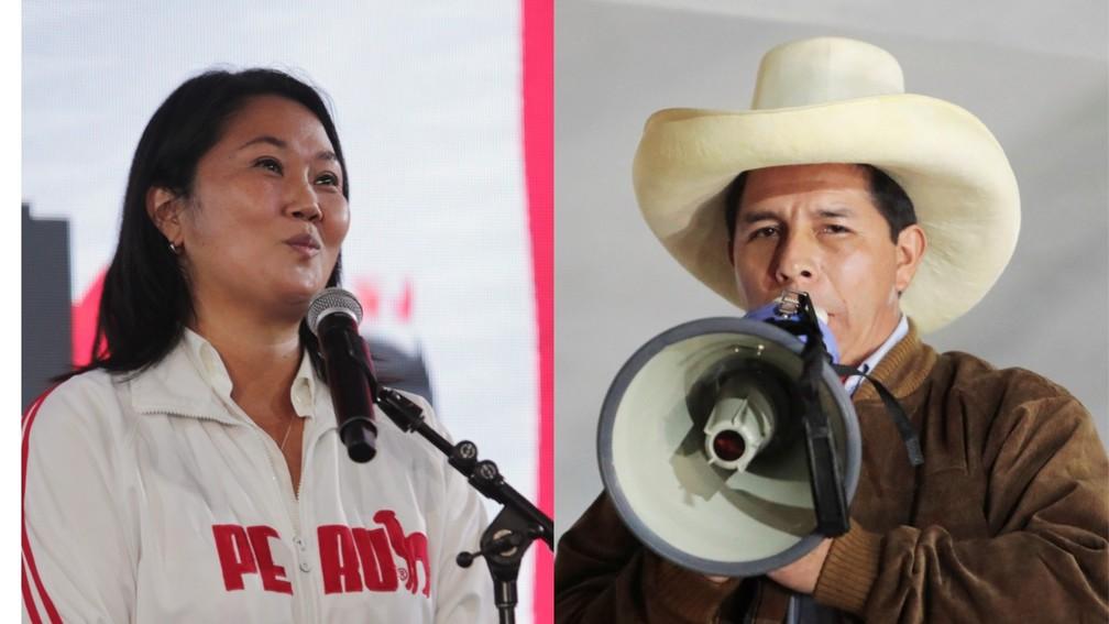 A candidata da direita, Keiko Fujimori, e o esquerdista Pedro Castillo disputam o segundo turno da eleição presidencial no Peru — Foto: Sebastian Castaneda/Reuters e Alessandro Cinque/Reuters