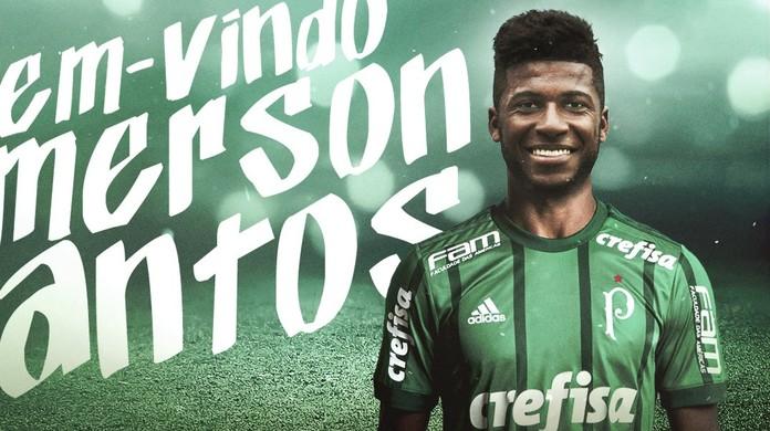 4a6b9657c9 Palmeiras anuncia contratação do zagueiro Emerson Santos por cinco anos