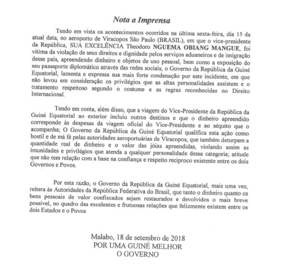 55485b0a4ec Guiné diz que Brasil deturpou valor e pede devolução de bens de vice  apreendidos em Viracopos