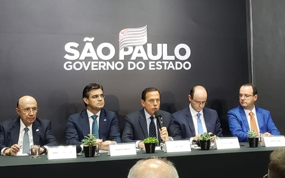 O governador João Doria (PSDB) fala sobre o plano de carreira para professores da rede estadual — Foto: Tahiane Stochero/G1