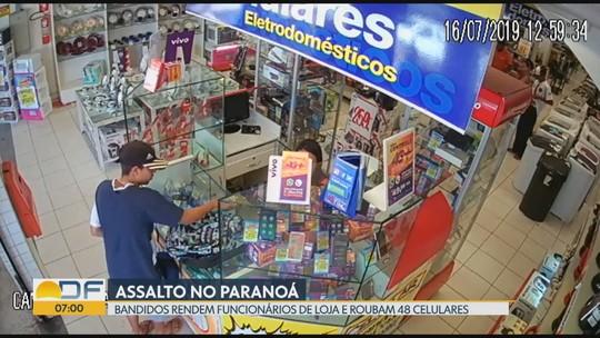 Câmeras registram assalto a loja de eletrodomésticos no Paranoá