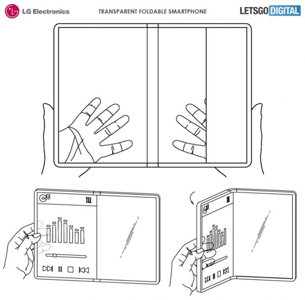 LG recebe patente de celular dobrável e transparente — Foto: Reprodução/LG (USPTO)