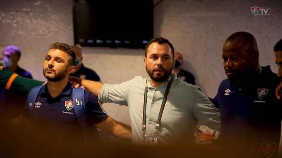 Mário é uma figura sempre presente no vestiário do Fluminense — Foto: Reprodução / FluTV