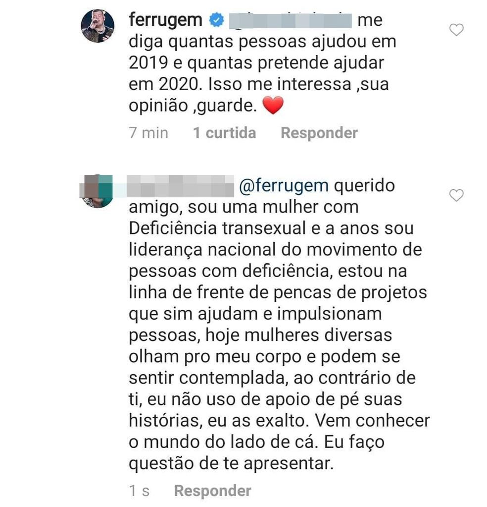 Internauta compartilhou trechos da discussão nas redes sociais  — Foto: Reprodução/Instagram