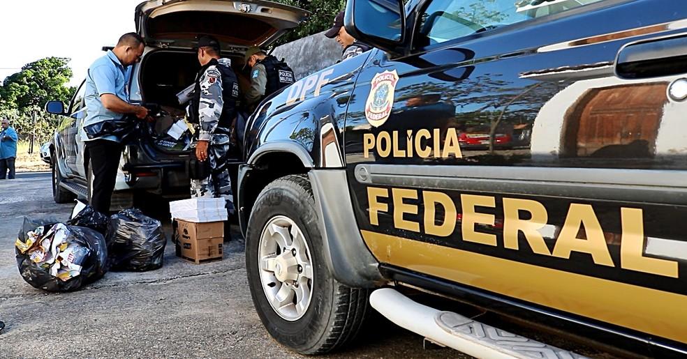 Apreensão Polícia Federal em Parnaíba — Foto: Kairo Amaral/TV Clube