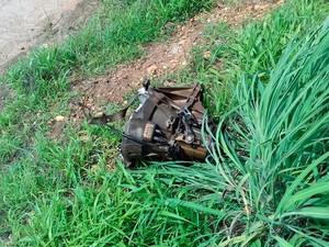 Motor de veículo foi arremessado após batida na Bahia (Foto: Blog do Sigi Vilares)