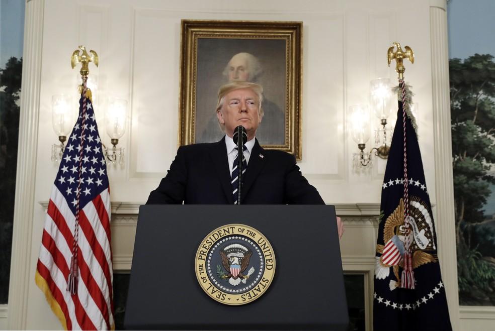 Trump fala sobre ataque em Las Vegas  (Foto: Evan Vucci/AP Photo)