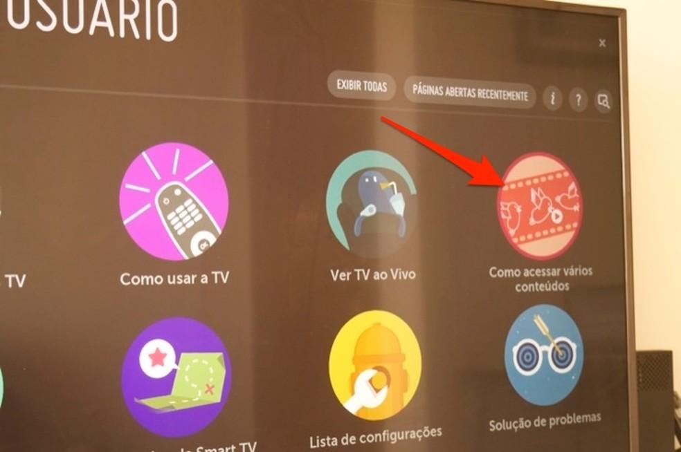 Ação para visualizar dicas de conteúdos em uma smart TV da LG — Foto: Reprodução/Marvin Costa