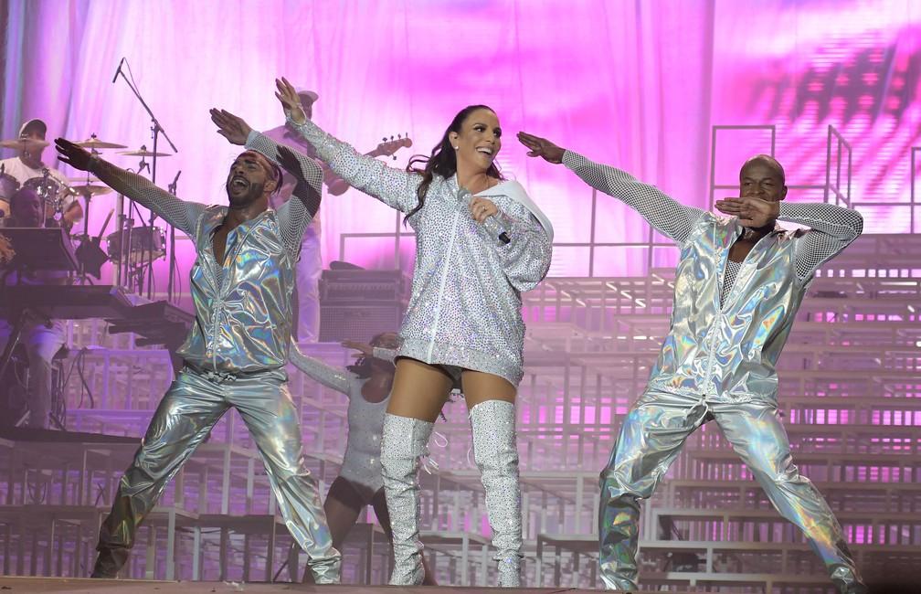 Ivete Sangalo canta e dança durante sua apresentação no Palco Mundo do Rock in Rio 2017 (Foto: Alexandre Durão/G1)