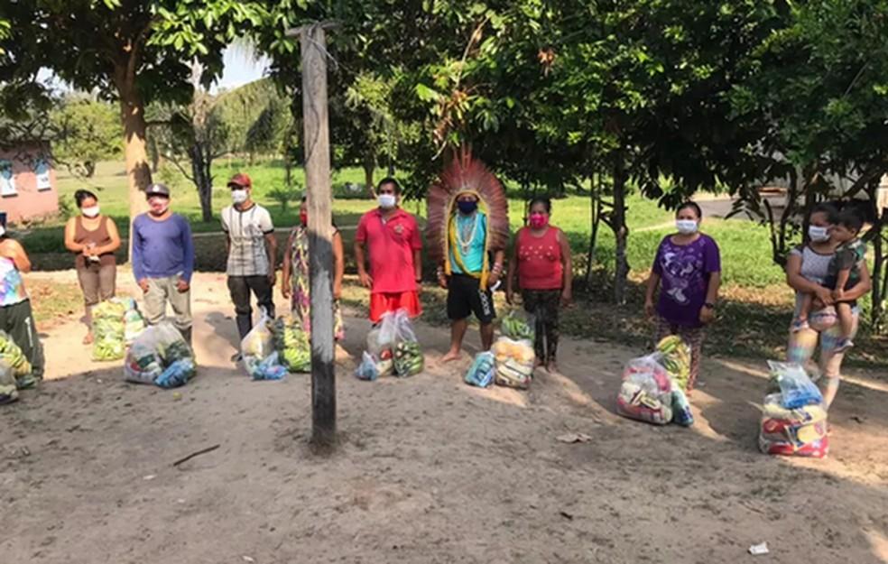 Projeto social ajuda indígens durante a pandemi — Foto: Arquivo social