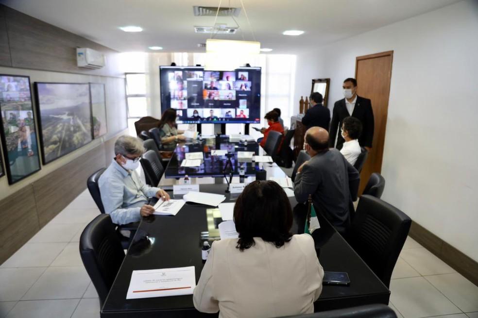Reunião da governadora Fátima Bezerra com prefeitos — Foto: Divulgação/Governo do RN