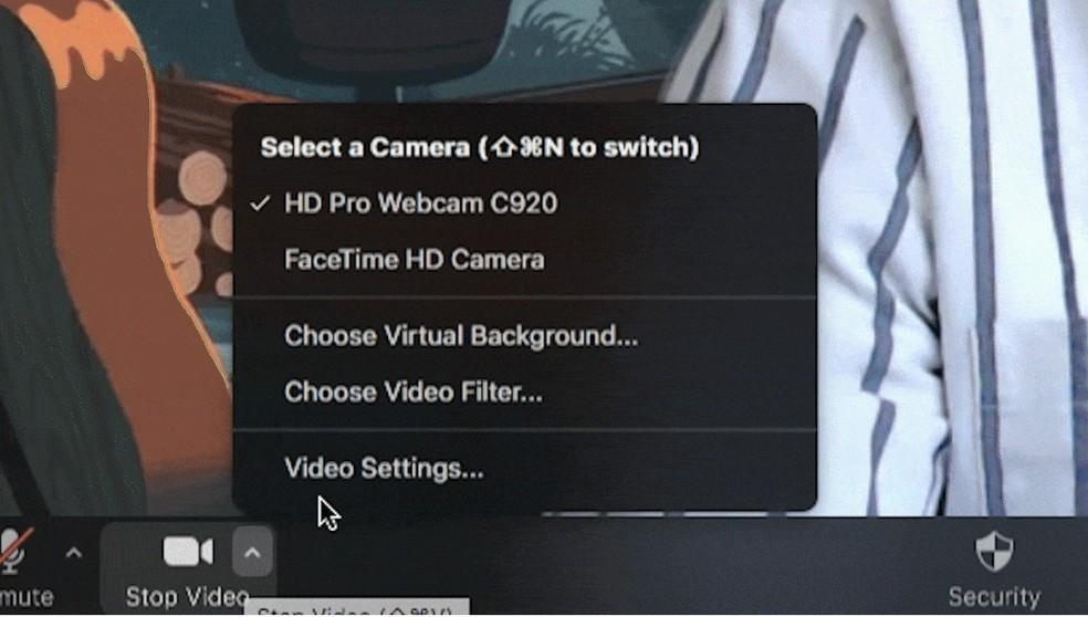 Para selecionar filtros no zoom, é preciso ir na opção