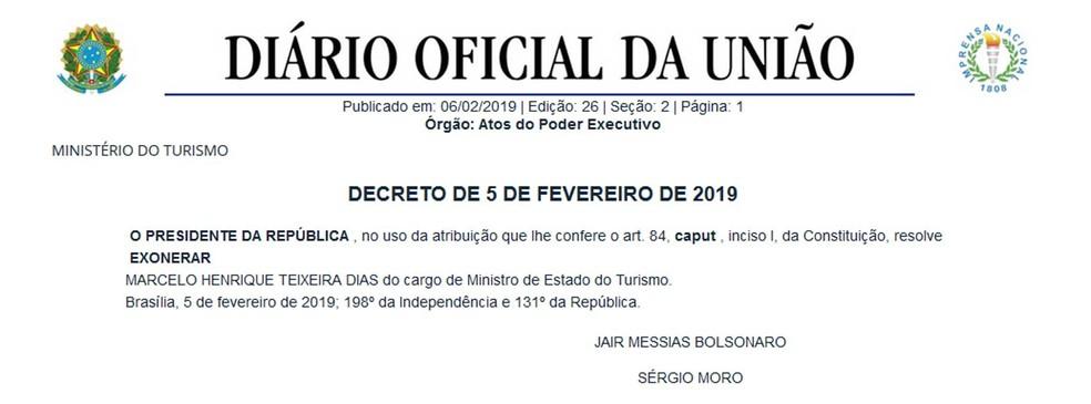 O presidente Jair Bolsonaro exonerou Marcelo Álvaro Antônio (PSL-MG) do cargo de ministro do Turismo — Foto: Reprodução / Diário Oficial da União