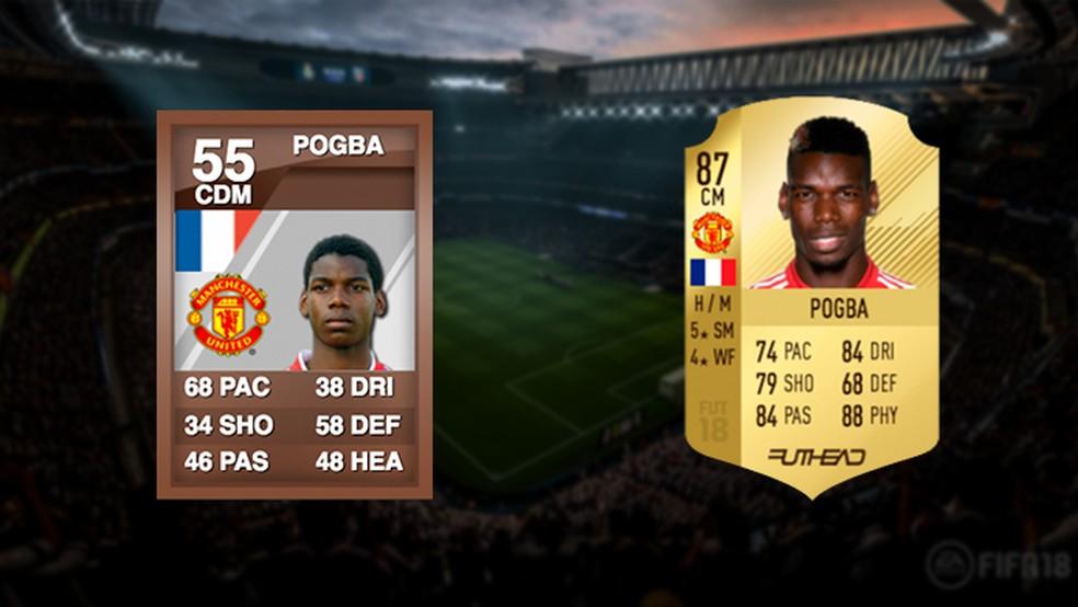 Entre sua saída e volta ao United, Pogba se transformou em um dos melhores do Ultimate Team (Foto: Reprodução/Murilo Molina)