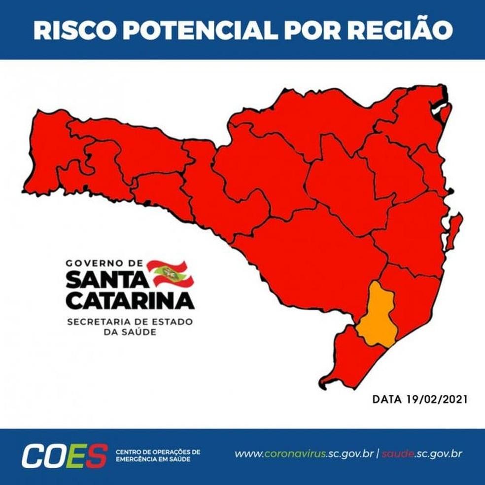Mapa de Risco Potencial por Região de Santa Catarina  — Foto: SES/ Divulgação