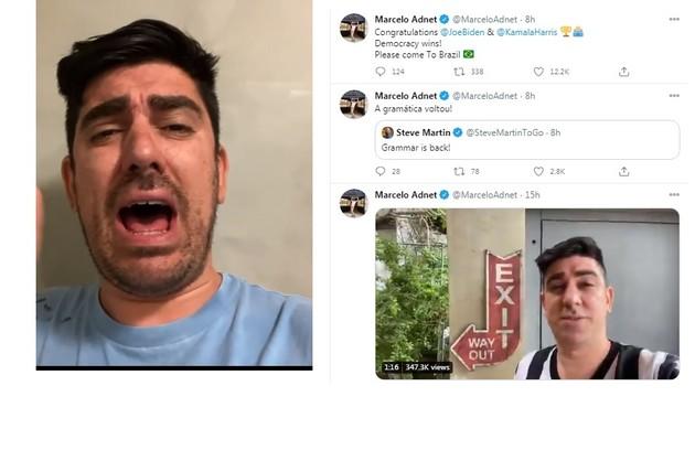Marcelo Adnet fez vídeos de humor no Instagram e comemorou a vitória de Joe Biden no Twitter (Foto: Reprodução/Instagram)