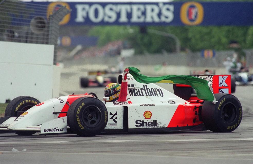 Senna conquistou 35 de suas 41 vitórias como piloto da McLaren — Foto: Getty Images