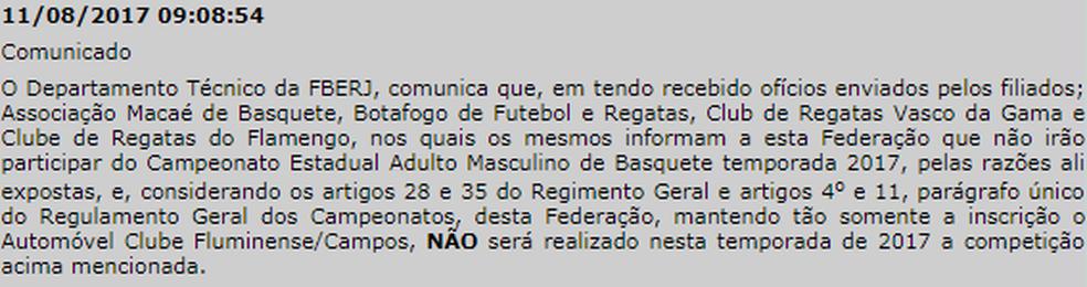 Nota oficial da Federação de Basketball do Estado do Rio de Janeiro (Foto: Divulgação)