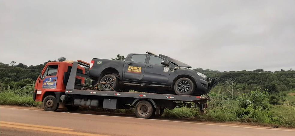Viatura da Força Nacional se envolveu em colisão nesta quarta-feira (23) em Porto Velho — Foto: João Antônio Alves/CBN Amazônia