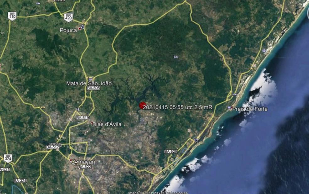 Tremor de terra foi detectado em Dias D'Ávila — Foto: Divulgação/LabSis