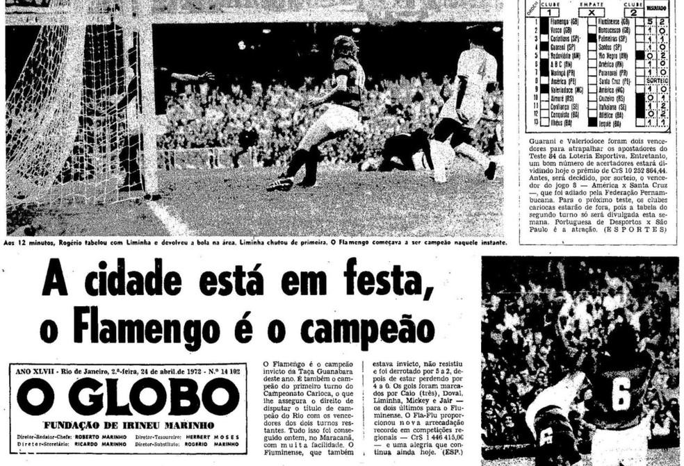 """A conquista da Taça Guanabara nas páginas do """"O Globo"""" em 24/04/1972 — Foto: Reprodução / O Globo"""