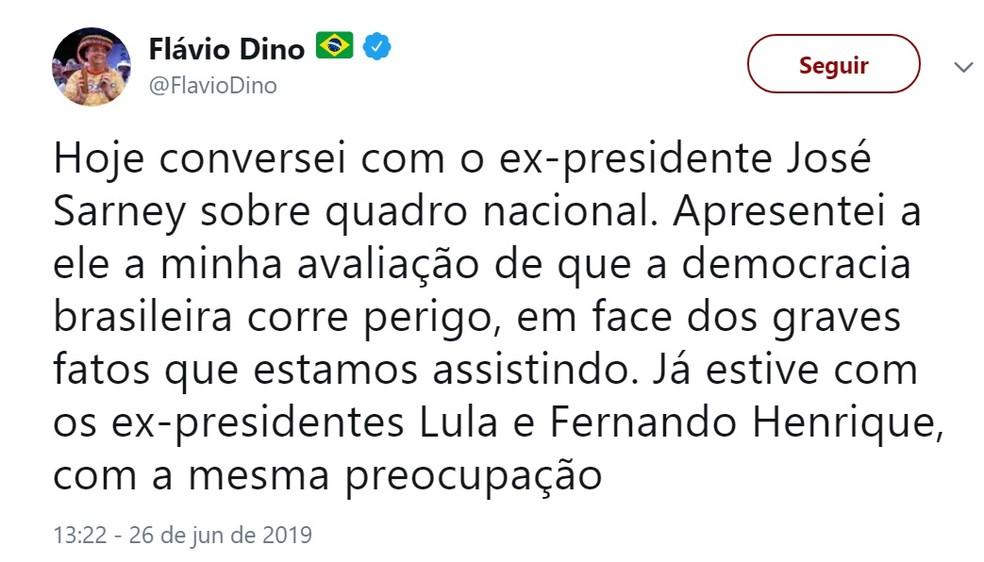 Flávio Dino diz estar preocupado com a democracia brasileira e anuncia encontro com José Sarney sobre o assunto — Foto: Divulgação/Redes Sociais
