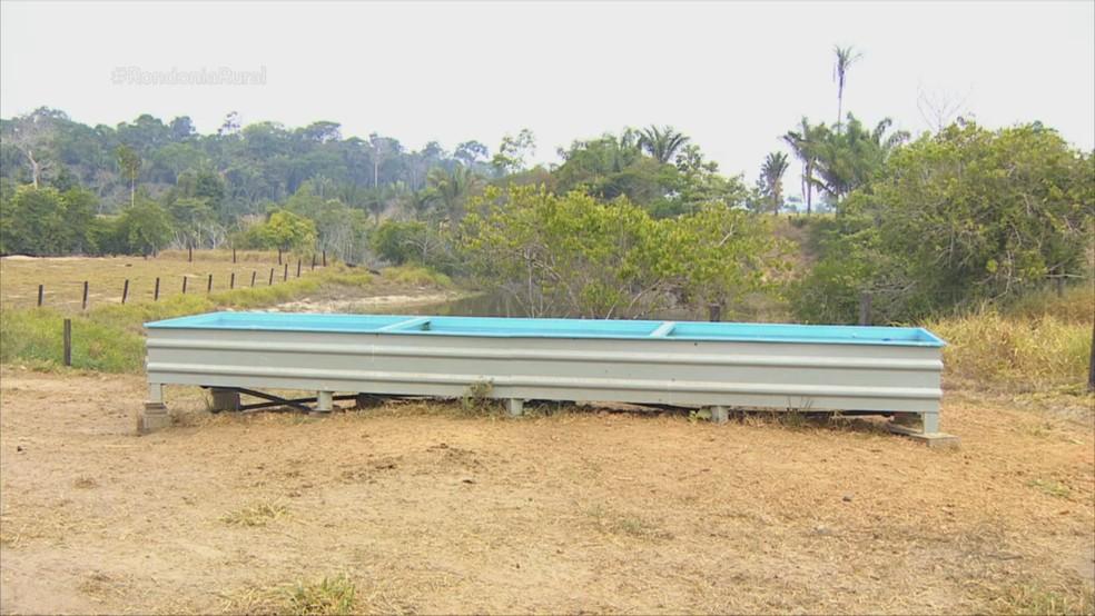 Bebedouros para o gado foram instalados na propriedade rural — Foto: Reprodução/Rede Amazônica