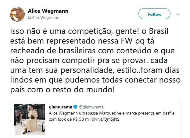 Alice Wegmann rebate site que a comparou com Marquezine (Foto: Reprodução / Twitter)