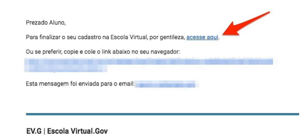 E-mail recebido para confirmar o cadastro de novo usuário na Escola Virtual do Governo Federal — Foto: Reprodução/Marvin Costa