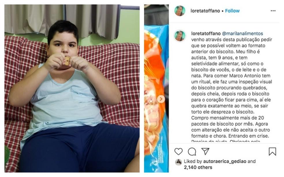Mãe de menino autista faz apelo nas redes sociais para empresa de biscoito em Marília — Foto: Instagram/Reprodução