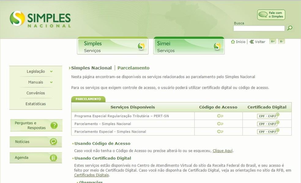 Tela de programas de parcelamento de dívidas no site do Simples Nacional (Foto: Divulgação/Receita Federal)