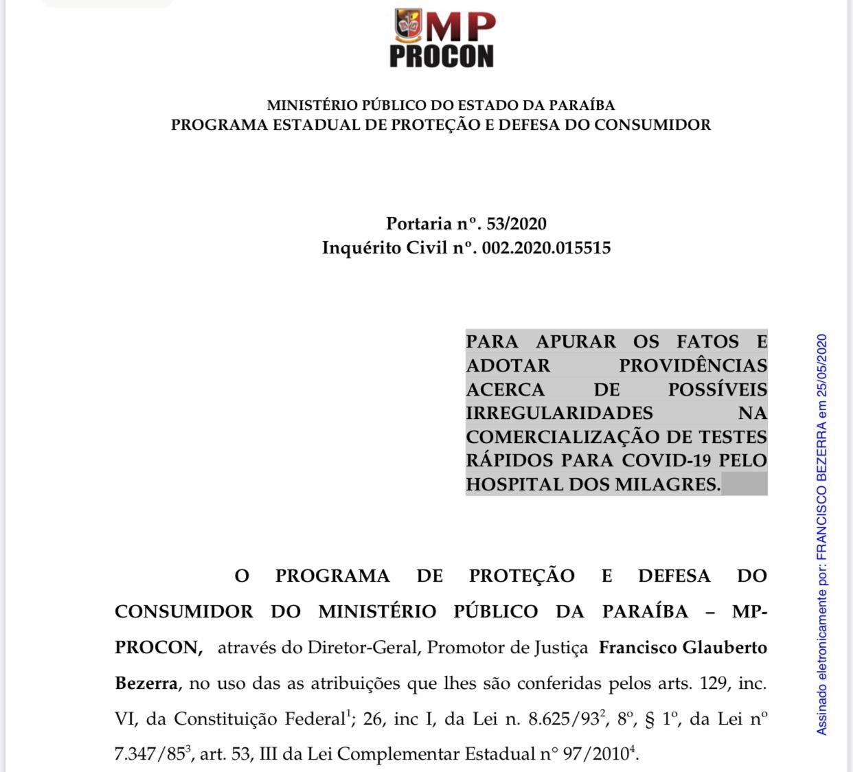 MPPB abre inquérito para investigar possíveis irregularidades na venda de testes rápidos, na PB
