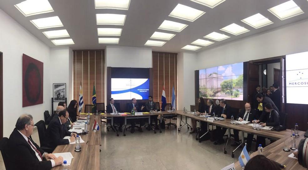 Reunião do Mercosul em São Paulo  (Foto: Gabriela Bazzo/G1)