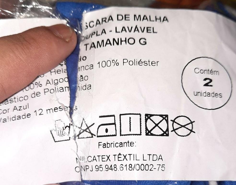 Etiqueta de máscaras recebidas pelos estudantes do Amazonas apontam Nilcatex como fabricante. — Foto: Divulgação