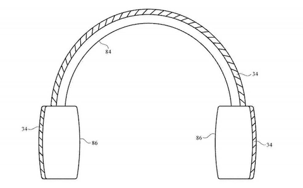 Exemplo usado na patente para explicar as aplicações em produtos flexíveis. — Foto: Foto: Reprodução/AppleInsider