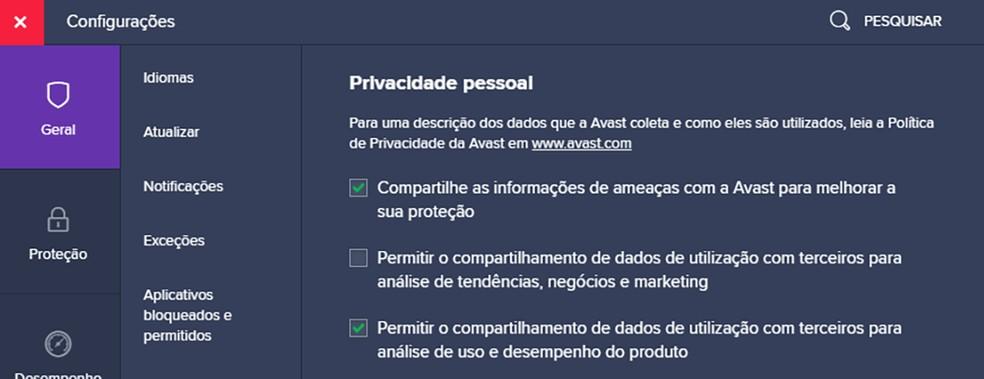 Opções de coleta de dados no antivírus da Avast. Coleta para fins de marketing está desabilitada, mas outras opções ainda vêm ativadas por padrão. — Foto: Reprodução