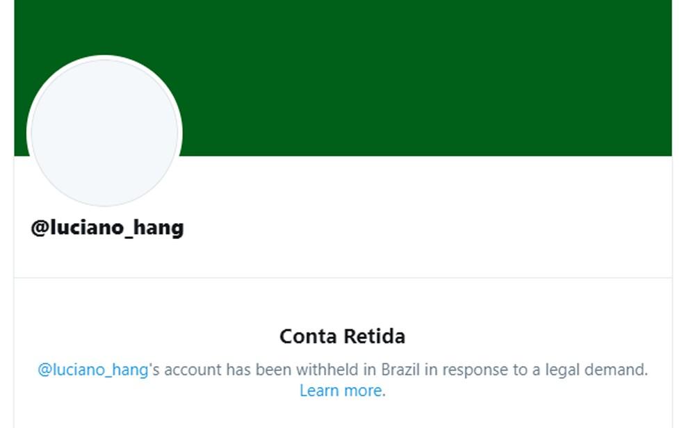 Conta do empresário Luciano Hang foi retida pelo Twitter após ordem do STF — Foto: Reprodução/Twitter