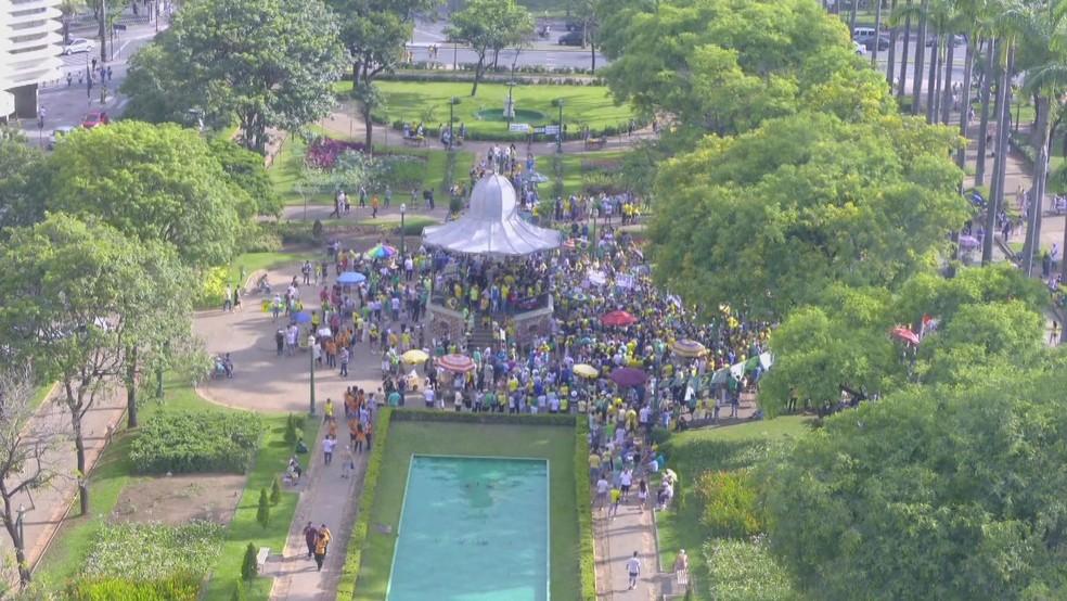 Ato na Praça da Liberdade, em Belo Horizonte, concentrou manifestantes contrários à decisão do STF — Foto: TV Globo