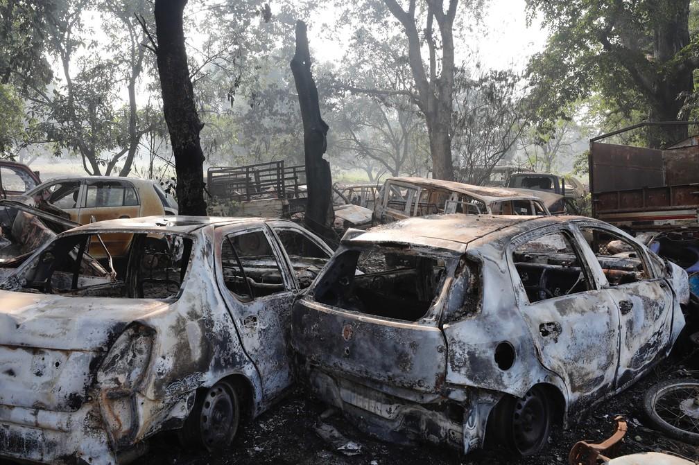 Carros incendiados em protesto contra morte de vaca no norte da Índia — Foto: AP Photo