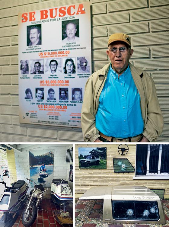 Roberto Escobar, irmão de Pablo, lidera o culto à memória do narcotraficante oferecendo acesso a bens como o jet ski do 007 e à carcaça de caminhonete atingida por balas (Foto: Fabiola Ferrero/Bloomberg / Getty Images | Rodrigo Pedroso | Rodrigo Pedroso)