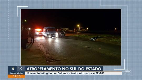 Homem tenta atravessar BR-101 em Maracajá e morre atropelado por ônibus