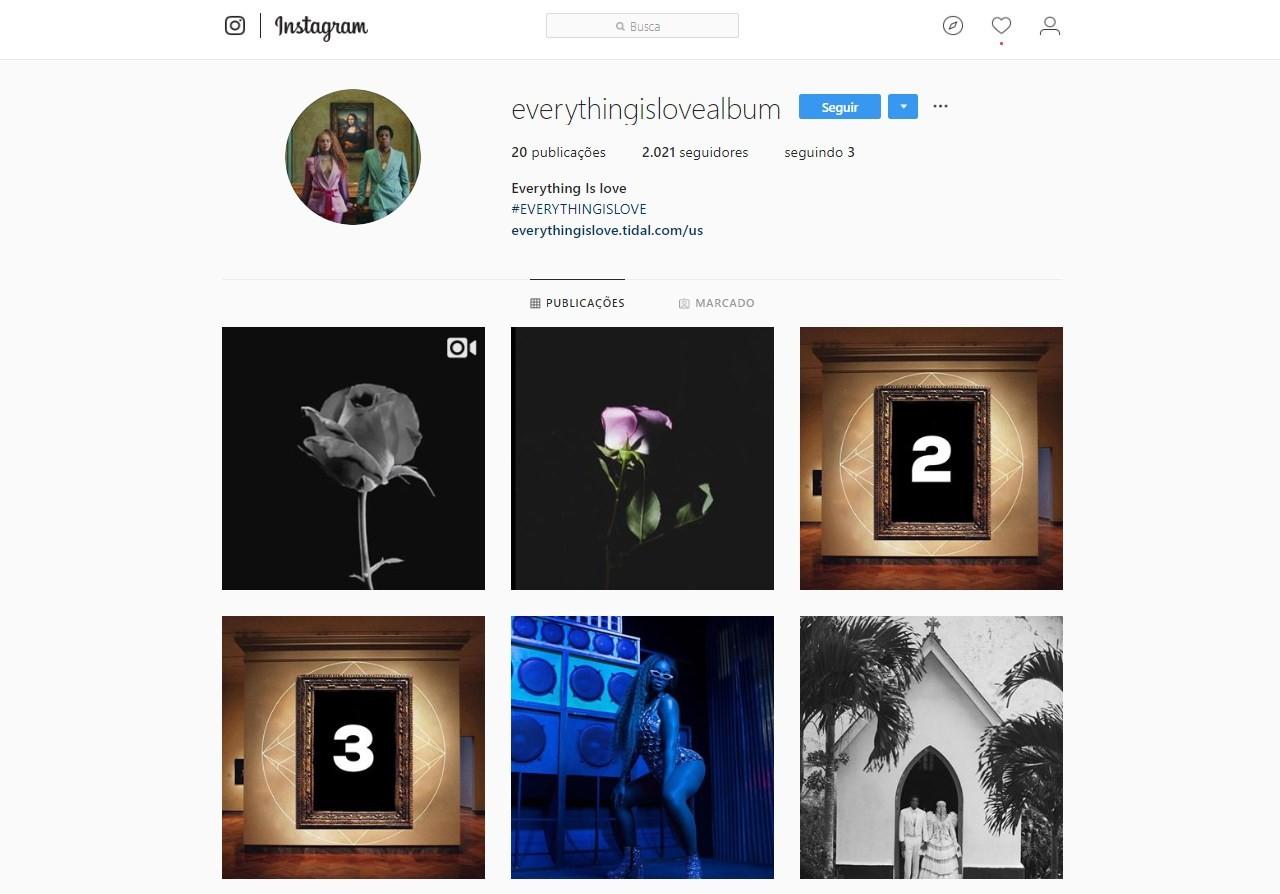"""A conta conta do álbum """"Everything Is Love"""", parceria de Beyoncé com o marido Jay-Z, traz o mesmo vídeo da flor (Foto: Reprodução / Instagram)"""