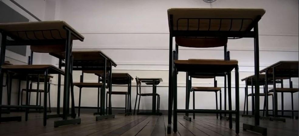 Sala de aula de escola estadual em SC — Foto: NSC TV/Reprodução
