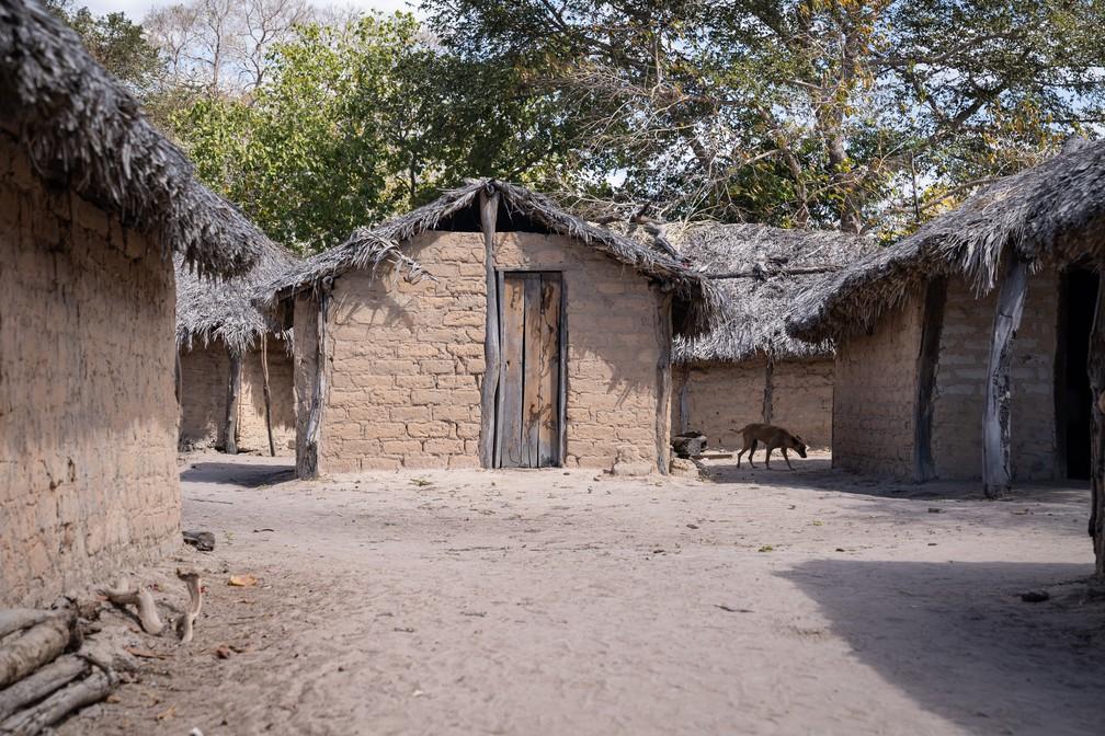 Casas do território Kalunga, no nordeste de Goiás, são de barro e telhado de palha — Foto: Fábio Tito/G1