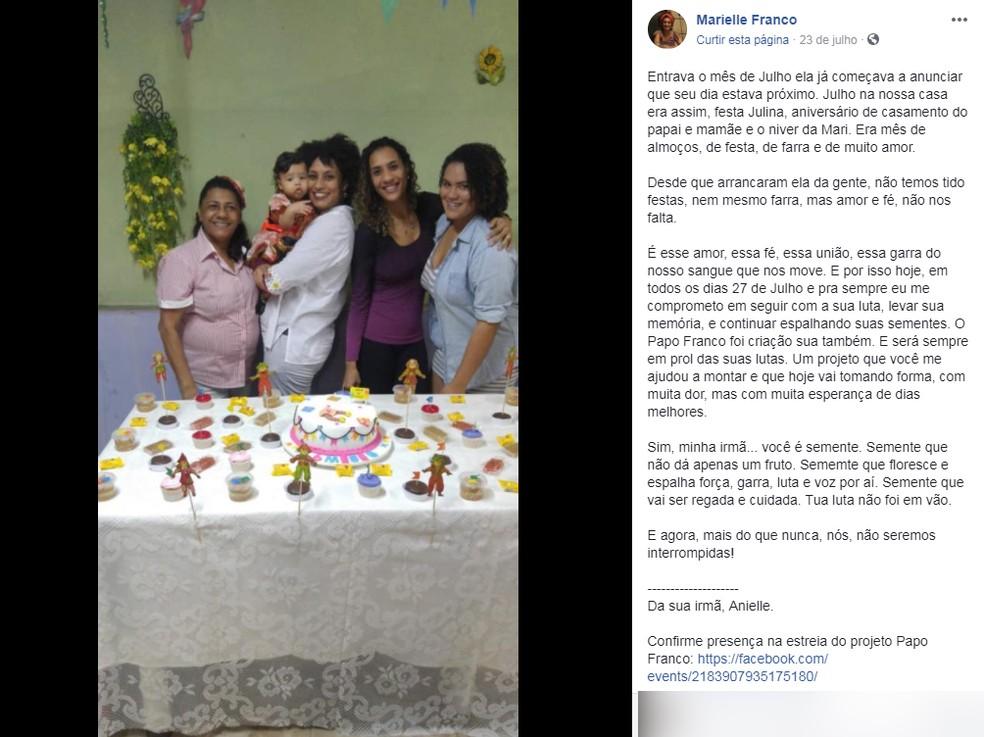 Mensagem deixada pela irmã na página de Marielle Franco no aniversário de 39 anos da vereadora (Foto: Reprodução/ Facebook)
