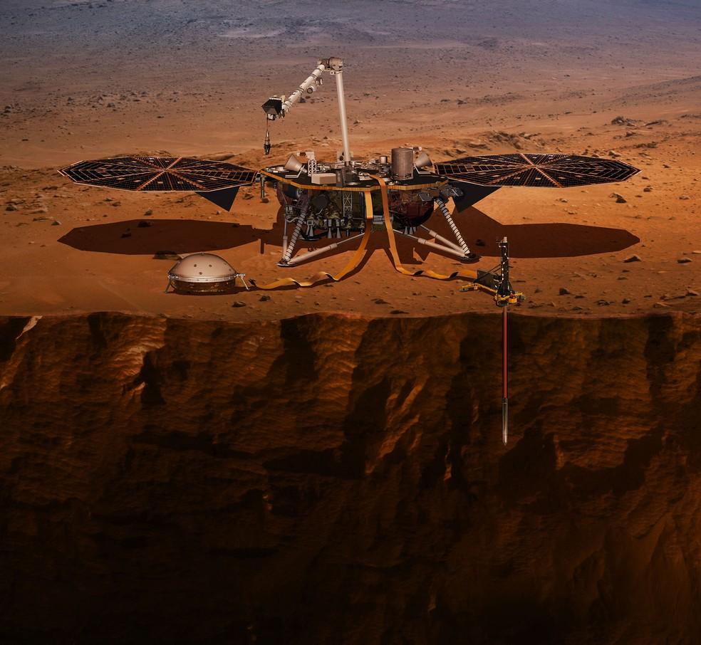 Concepção artística mostra como a InSight deverá estudar o interior de Marte — Foto: NASA