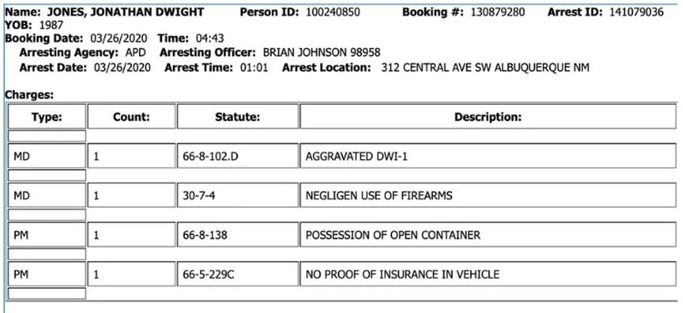 Ficha de detenção de Jon Jones — Foto: Reprodução