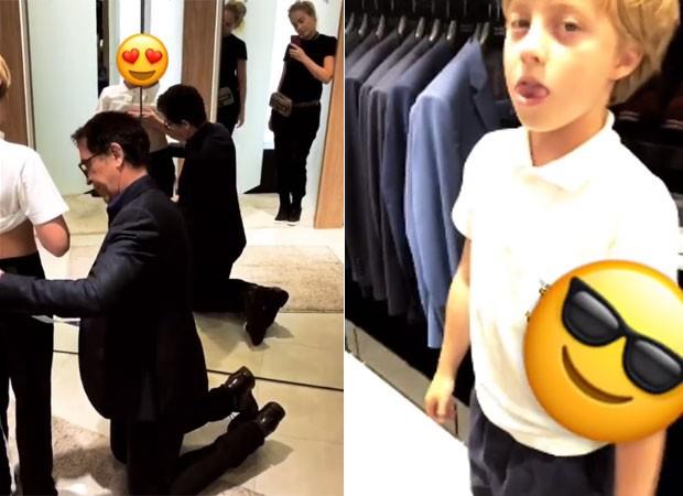 Angélica mostra Ricardo Almeida medindo os filhos para confeccionar ternos sob medida (Foto: Reprodução)