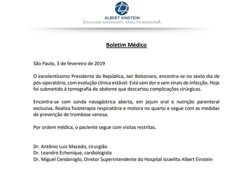 Bolsonaro continua com sonda, fez tomografia e não tem complicações neste domingo (3) — Foto: Reprodução